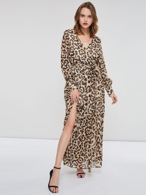 Leopard Print Split Long Sleeve Women's Maxi Dress