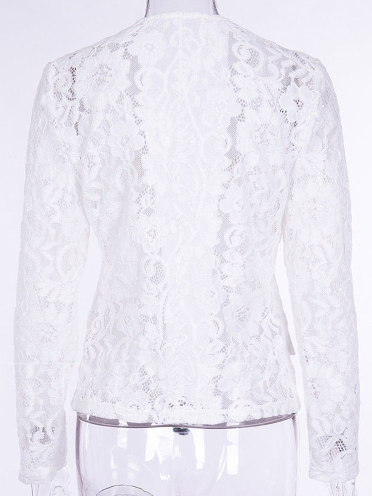 V-Neck Lace See-Through Sexy Women's Casual Blazer