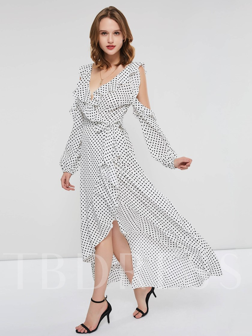 V-Neck Print Long Sleeve Women's Maxi Dress