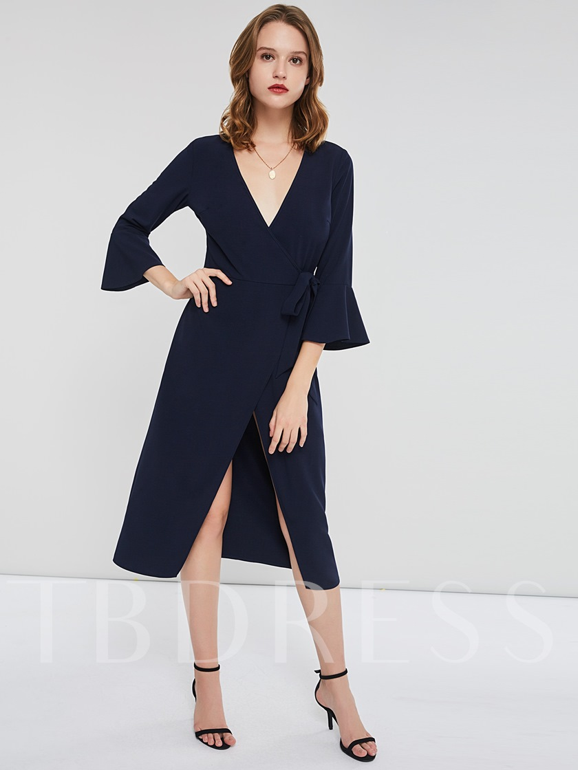 Half Sleeve Asymmetric V-Neck Women's Long Sleeve Dress