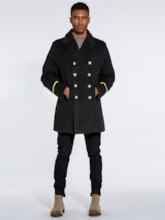 Lapel Slim Mid-Length Double-Breasted Plain Men's Trench Coat