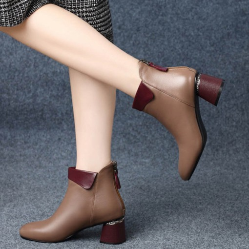 Round Toe Back Zip Chunky Heel Casual Chic Women's Ankle Boots