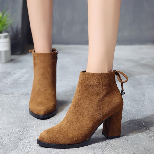 Suede Chunky Heel Bowknot Side Zipper Women's Ankle Boots