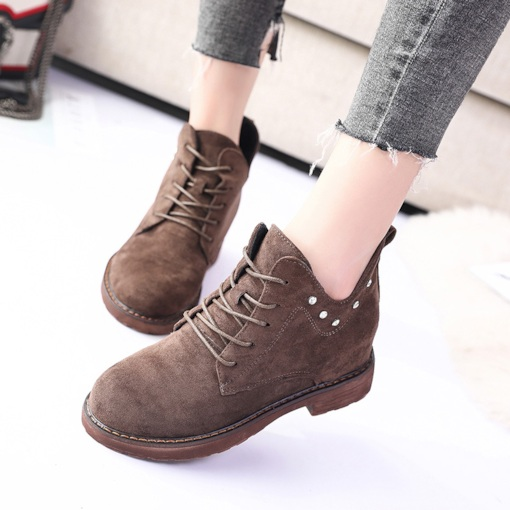 Suede Round Toe Lace-Up Front Rivet Elevated Women's Ankle Boots
