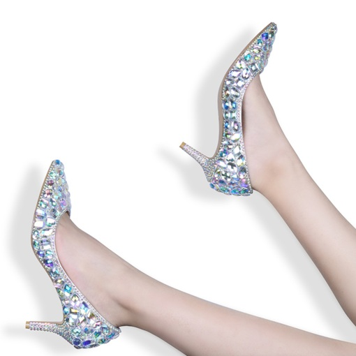 Pointed Toe Slip-On Stiletto Heel Rhinestone Glitter Prom Shoes