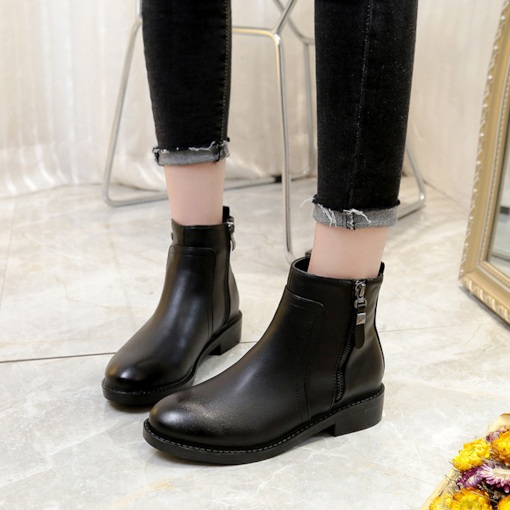 Round Toe Block Heel Side Zipper Classical Ankle Boots