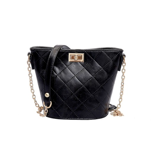Quilted Lining Lock PU Plain Barrel-Shaped Crossbody Bags
