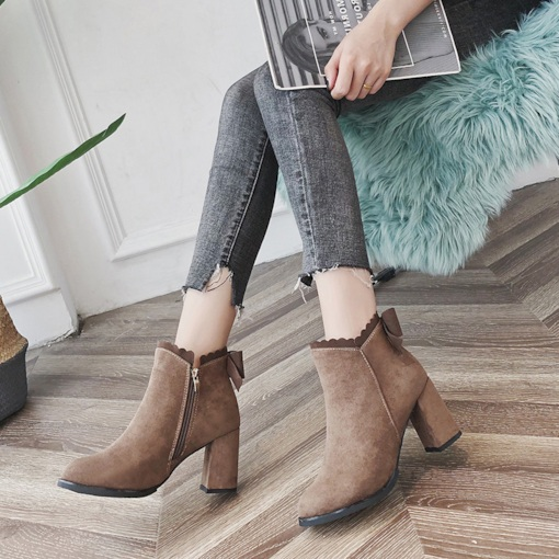 Suede Round Toe Side Zipper Bowknot Casual Women's Ankle Boots