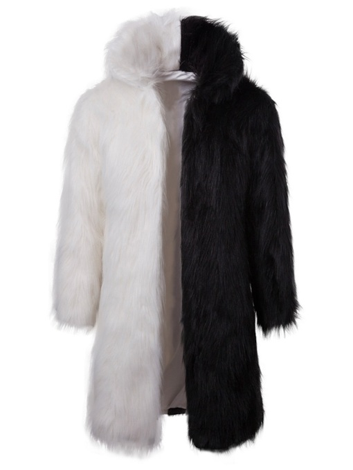 Color Block Patchwork High Neck Mid-Length Men's Fur Coat
