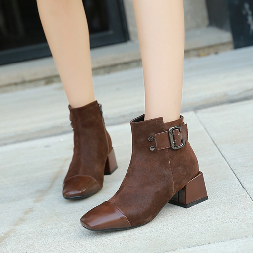 Suede Square Toe Chunky Heel Side Zipper Buckle Plush Chic Ankle Boots