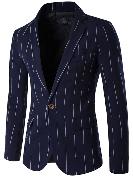 Slim England Notched Lapel Stripe Printed Men's Blazer