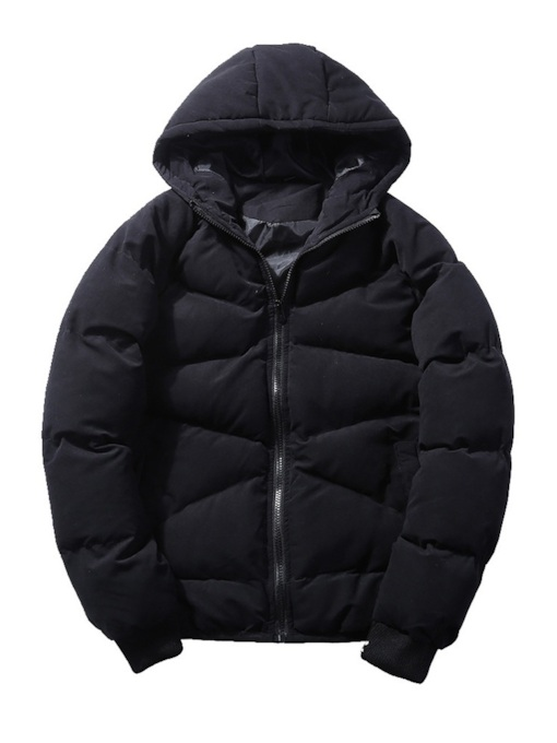 Slim Thick Zipper Plain Men's Down Jacket