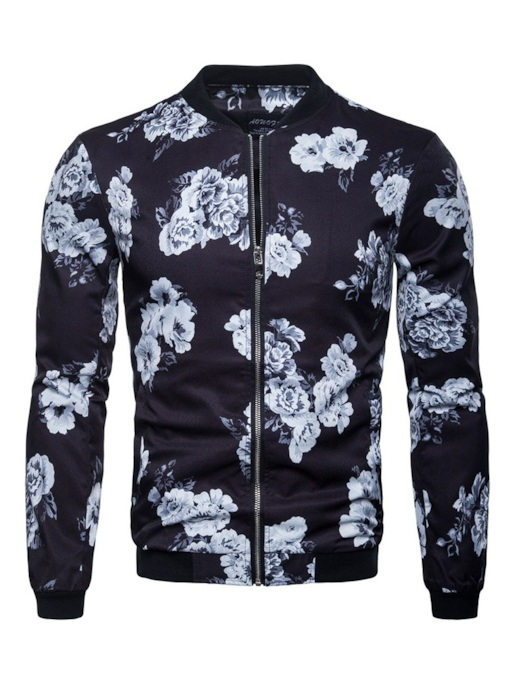 Floral Prined Stand Collar Zipper Men's Jacket