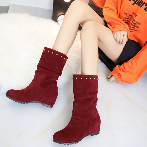 Suede Round Toe Slip-On Rivet Elevated Women's Mid Calf Boots
