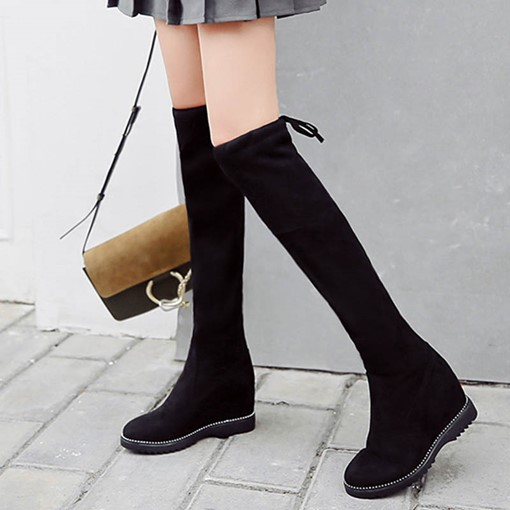 Suede Round Toe Lace-Up Back Elevated Women's Knee High Boots