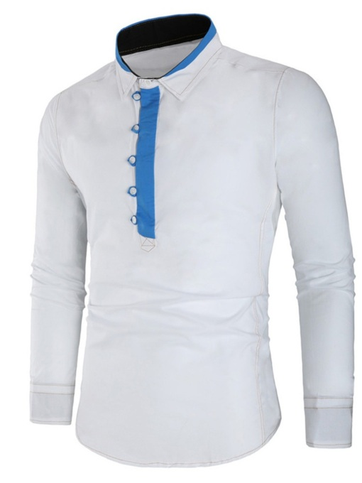 Color Block Lapel Slim Men's Polo Shirt