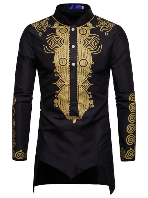 Dashiki Slim Stand Collar Men's Shirt