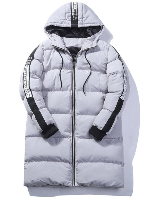 Slim Patchwork Hooded Mid-Length Men's Down Jacket
