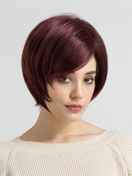 Bob Hairstyle Straight Synthetic Hair Women Capless Wigs 10 Inches