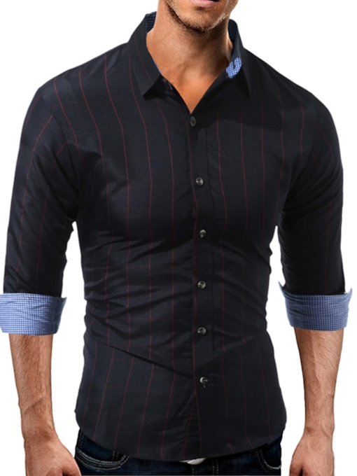 Patchwork Lapel Stripe Slim Men's Shirt