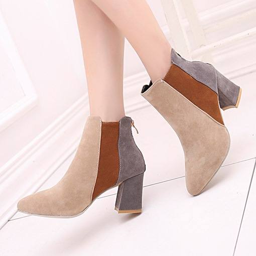 Back Zip Color Block Chunky Heel Casual Ankle Boots