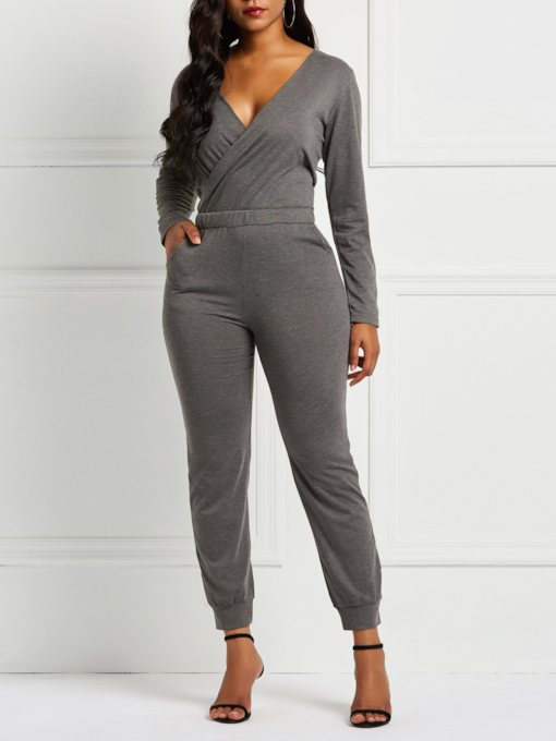 Plain Full Length Pencil Pants Women's Jumpsuits