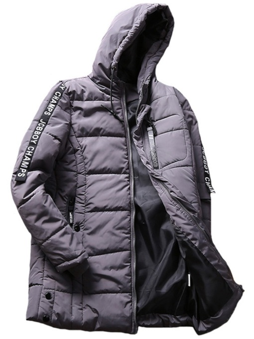 Slim Hooded Thick Mid-Length Men's Down Jacket