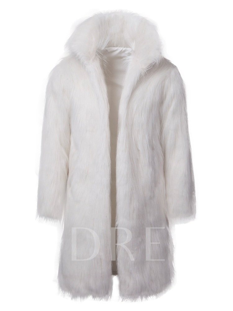 High Neck Mid-Length Plain Men's Fur Coat
