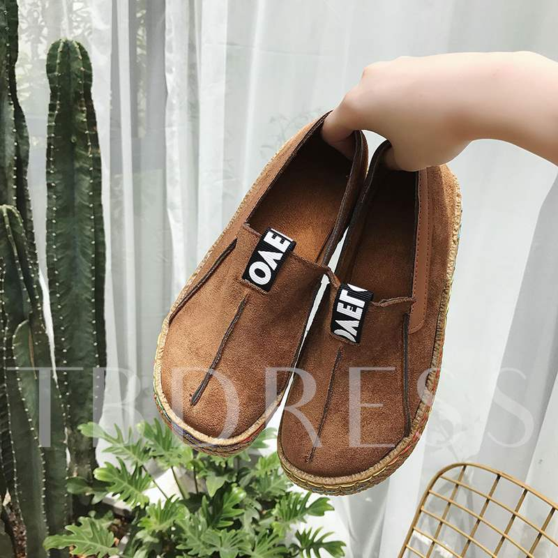 Round Toe Patchwork Slip-On Comfy Women's Flats