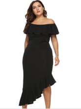 Plus Size Falbala Off Shoulder Asymmetrical Women's Maxi Dresses