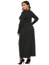 Single-Breasted V-Neck Long Plus Size Women's Trench Coat