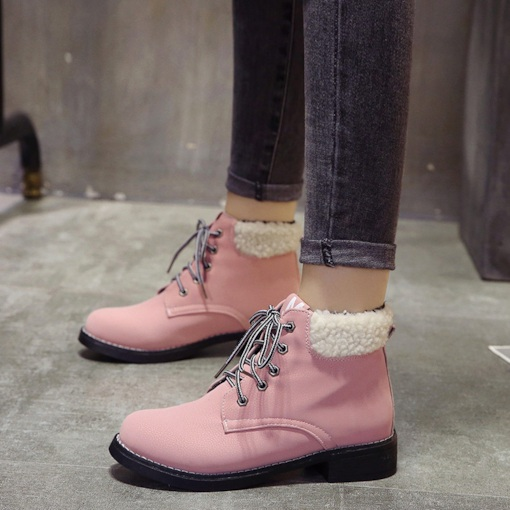 Block Heel Lace-Up Front Plain Round Toe Stylish Women's Martin Boots