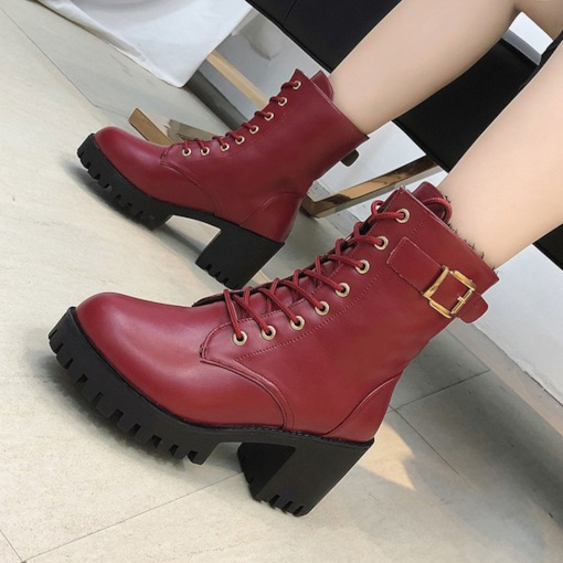 Lace-Up Front Round Toe Chunky Heel Classical Women' Martin Boots