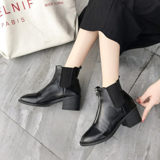 Front Zipper Patchwork Chunky Heel Round Toe Fashion Ankle Boots