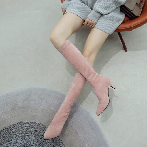 Slip-On Pointed Toe Stiletto Heel Plain Exquisite Knee High Boots