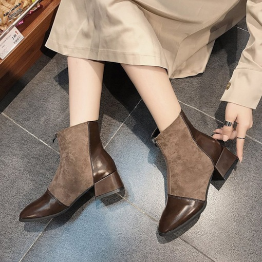 Round Toe Chunky Heel Front Zipper Patchwork Casual Ankle Boots