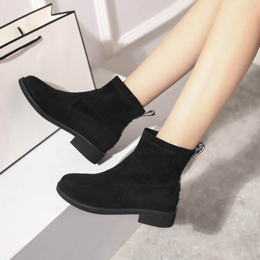 Round Toe Plain Block Heel Slip-On Casual Basic Women's Ankle Boots