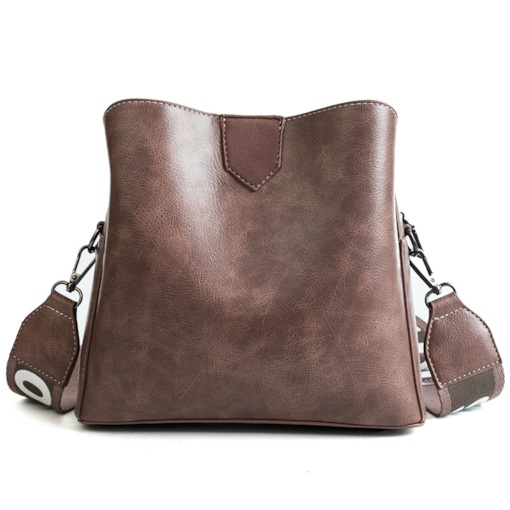 Plain Patchwork PU Barrel-Shaped Crossbody Bags