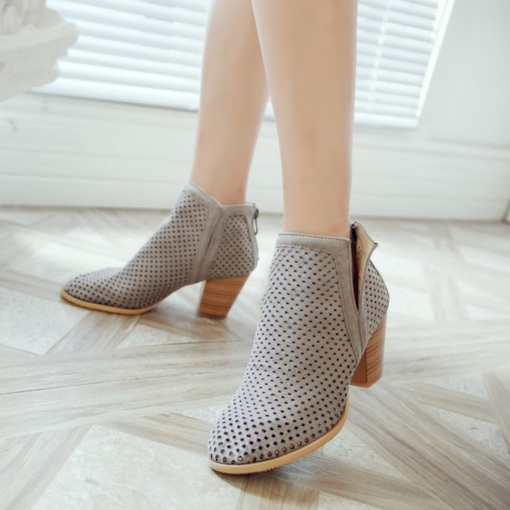 Plain Round Toe Chunky Heel Back Zip Hollow Fashion Ankle Boots