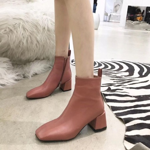 Chunky Heel Plain Square Toe Side Zipper Casual Comfy Ankle Boots