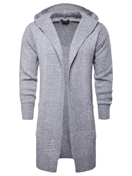 Hooded Casual Plain Mid-Length Men's Sweater & Cardigan