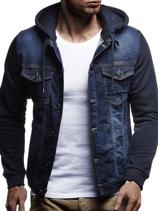 Hooded Slim Color Block Patchwork Casual Fall Men's Jacket