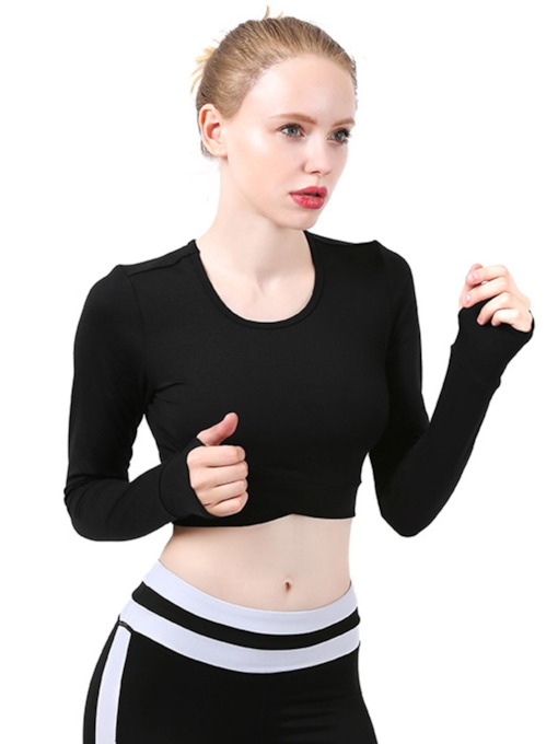 Long Sleeves Expose Navel Sports Tops for Women