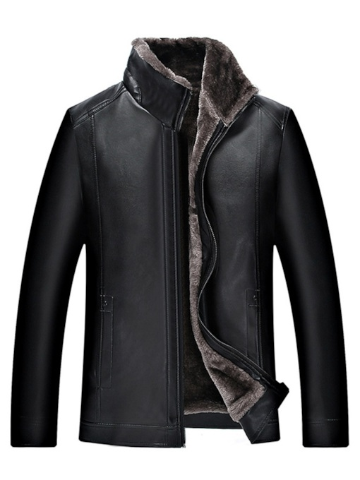 Slim Zipper Standard Plain Korean Men's Leather Coat