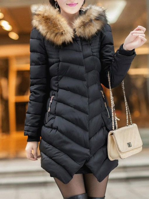 Thick Faux Fur Mid-Length Women's Cotton Padded Jacket
