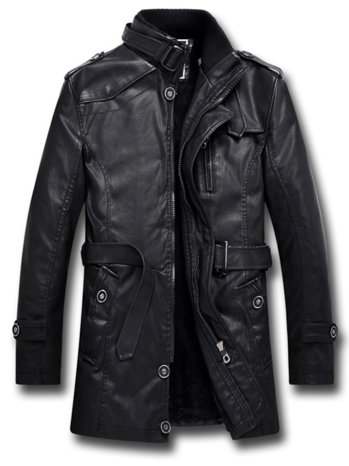 Mid-Length Zipper Slim Stand Collar Fall Men's Leather Jacket