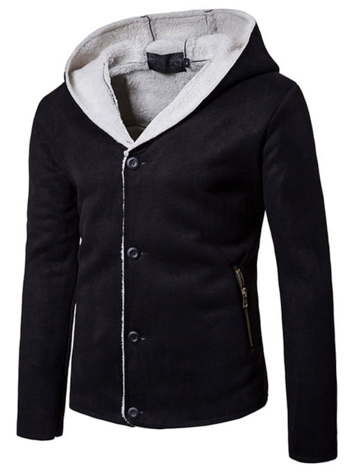 Hooded Single-Breasted Thick Loose Casual Men's Jacket