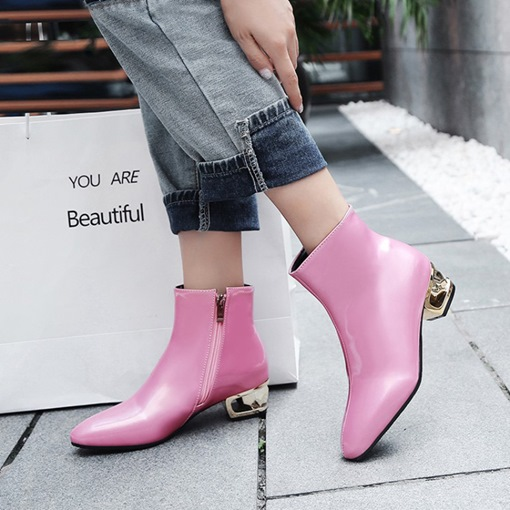 Plain Side Zipper Round Toe Chunky Heel Fashion Women's Ankle Boots