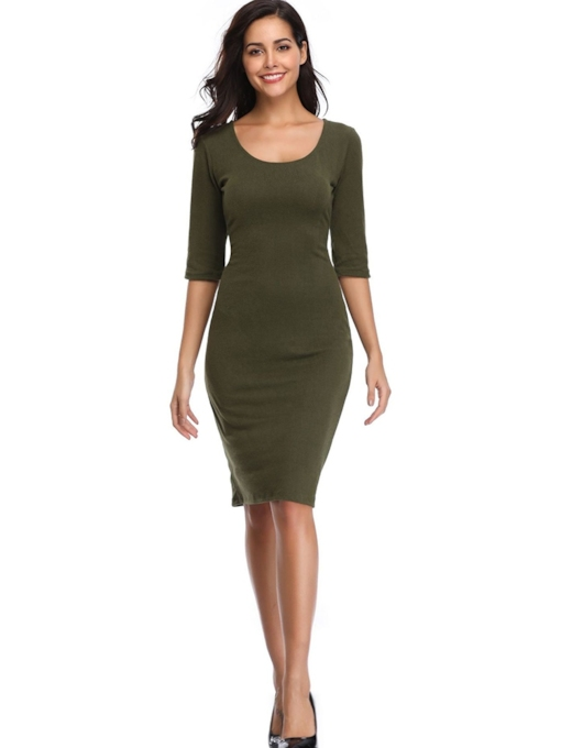 Half Sleeve Scoop Plain Women's Day Dress