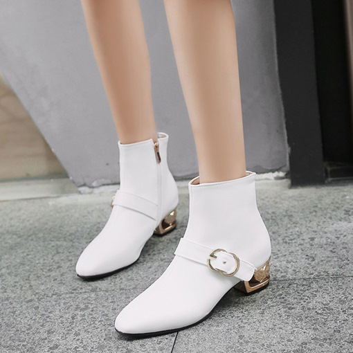 Square Toe Side Zipper Plain Chunky Heel Versatile Women's Ankle Boots